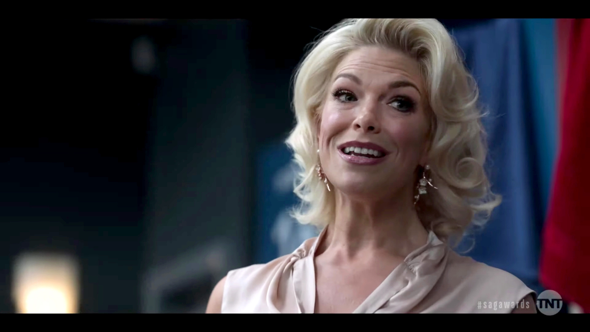 """Hannah Waddingham in a screenshot posted on April 4, 2021, the cast of """"Ted lasso"""" perform as their characters at the 27th Annual Screen Actors Guild Awards on April 4, 2021."""