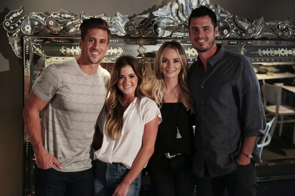 Ben Higgins made fans question is the bachelor not allowed to say 'I love you' after telling both JoJo Fletcher (Center Left) and Lauren Bushnell (Center Right) on his season of 'The Bachelor'