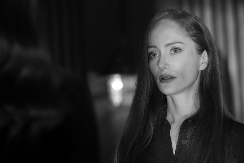 Lotte Verbeek as Katarina Rostova looks on in a black and white frame from the series.