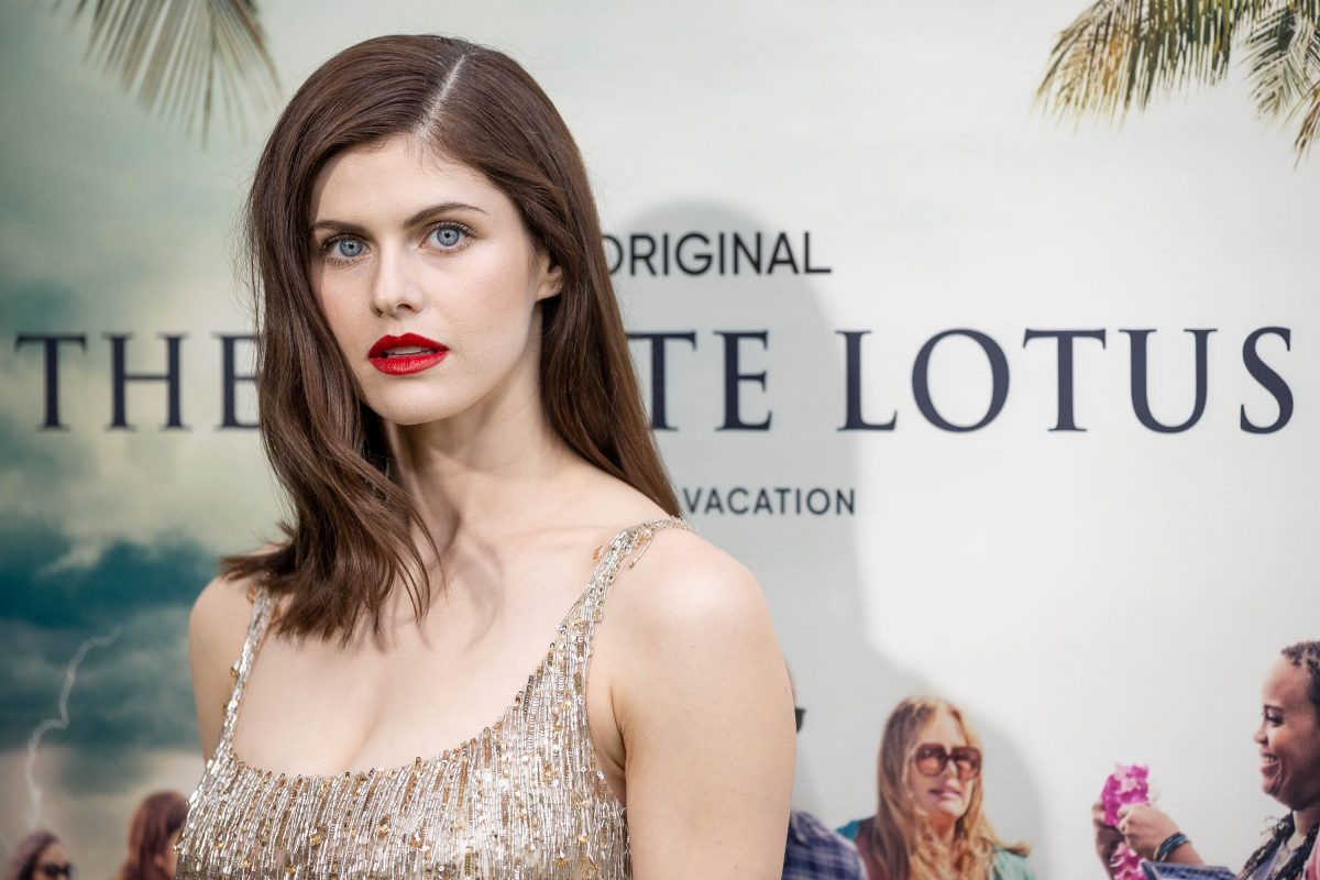 The White Lotus cast member Alexandra Daddario posing for the premiere as fans guess if she was the one who dies in the HBO series