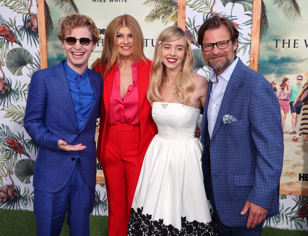 The White Lotus cast members Fred Hechinger, Connie Britton, Sydney Sweeney, and Steve Zahn posing for photographers at the Los Angeles Premiere of the HBO limited series