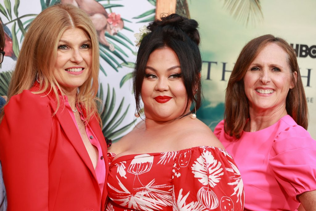 'The White Lotus' stars Connie Britton, Jolene Purdy and Molly Shannon posing for photographers at the Los Angeles Premiere