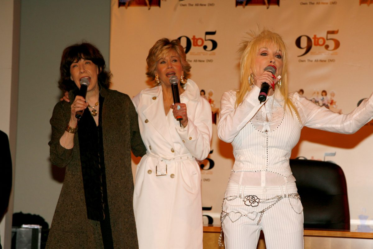 Lily Tomlin, Jane Fonda and Dolly Parton  pose together at the '9 to 5' 25th Anniversary Special Edition DVD Launch Party in 2006