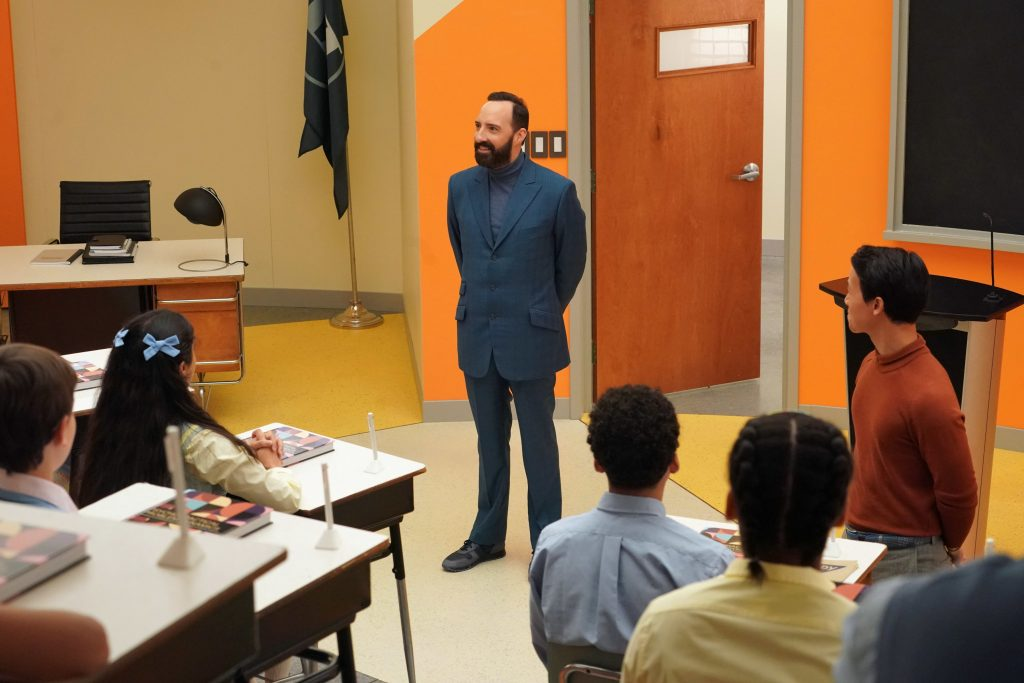 Tony Hale as Mr. Curtain speaks to the class