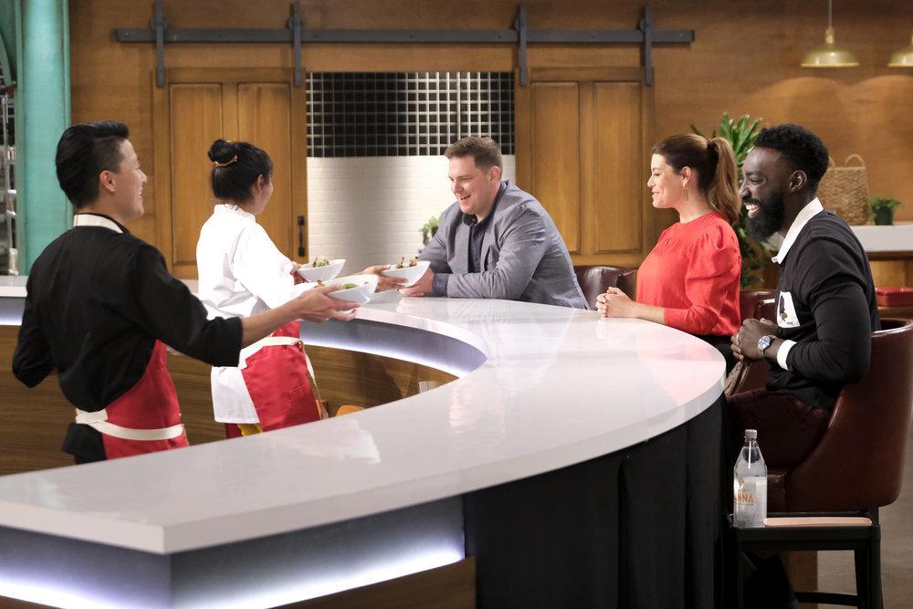 Top Chef Amateurs Melissa King, Joe Flamm, Gail Simmons, Eric Adjepong present their dish to the judges