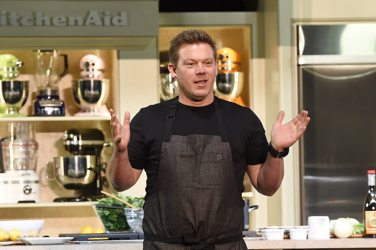 Tyler Florence gives a culinary demonstration at the 2014 Food Network New York City Wine and Food Festival