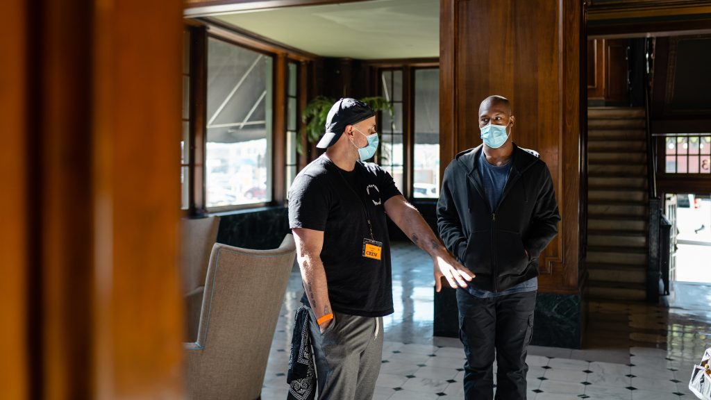 Vernon Davis taking direction from Adam Sigal on the set of The Chariot