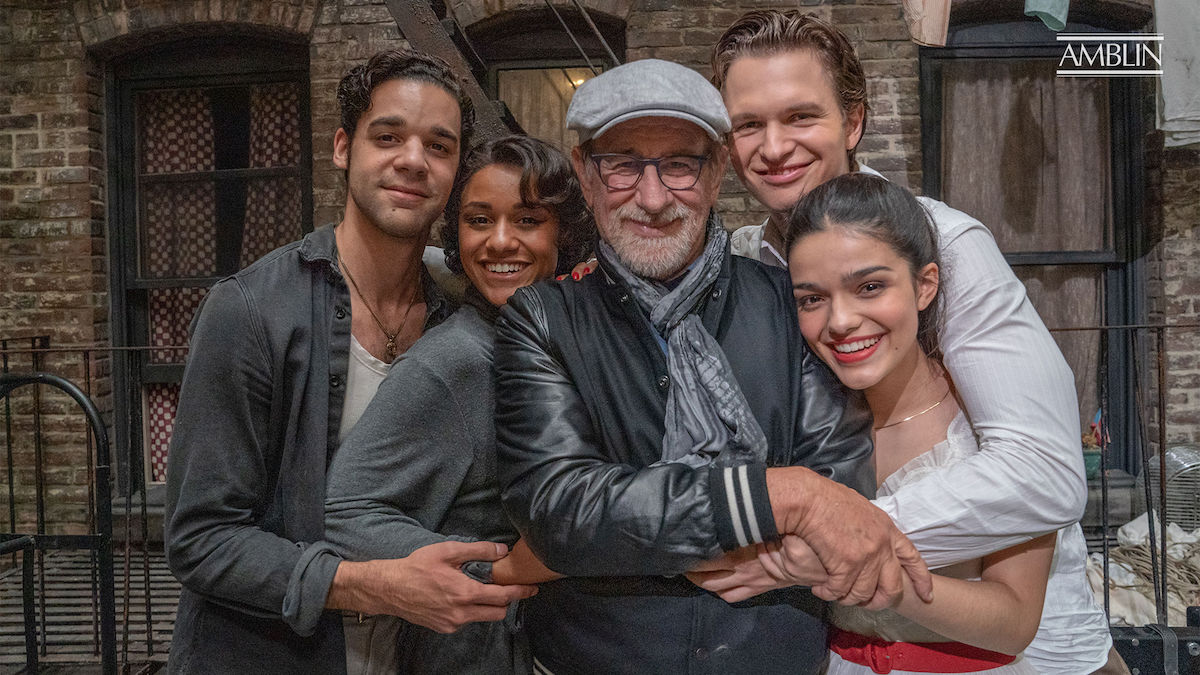 David Alvarez, Ariana DeBose, Steven Spielberg, Ansel Elgort, and Rachel Zegler pose in a 'West Side Story' promotional image
