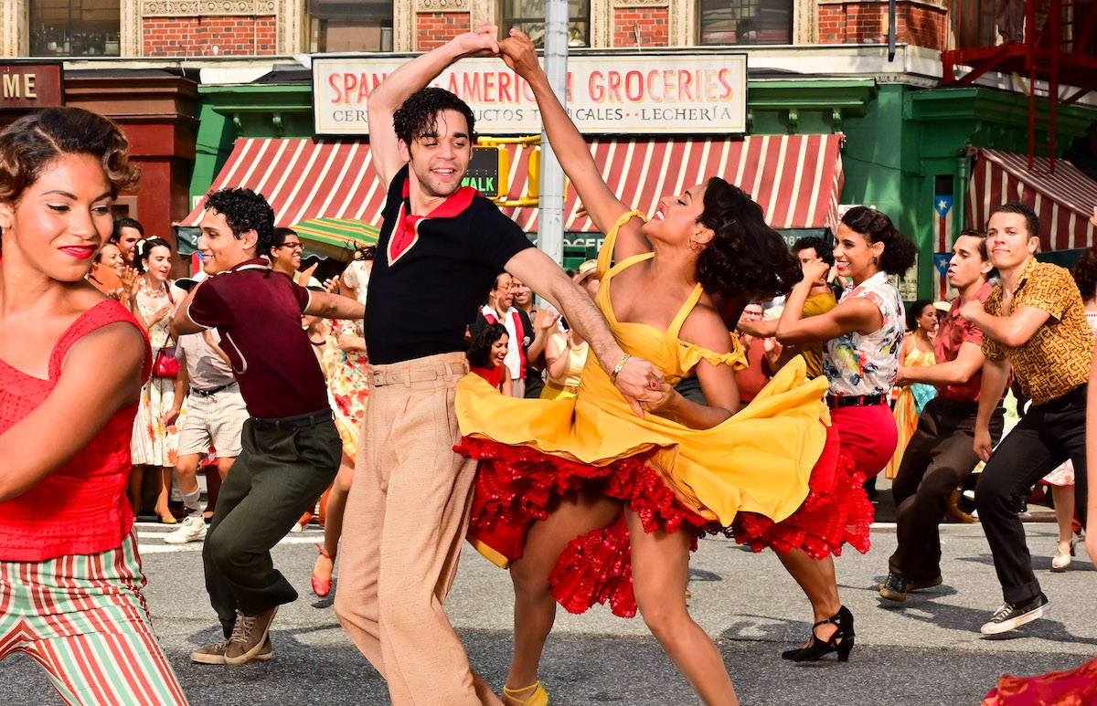 David Alvarez and Ariana DeBose perform with dancers during a scene from 'West Side Story'