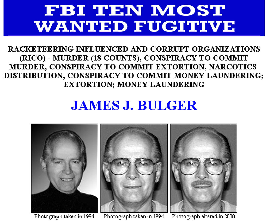 This FBI Ten Most Wanted Fugitive poster shows reputed Boston mobster James 'Whitey' Bulger.