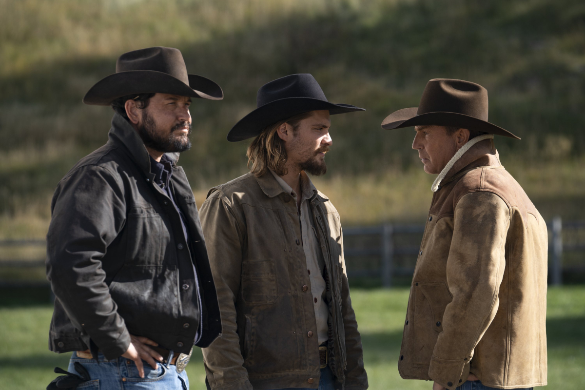 'Yellowstone' stars Cole Hauser (Rip Wheeler), Luke Grimes (Kayce Dutton) and Kevin Costner (John Dutton) in an image from season 3