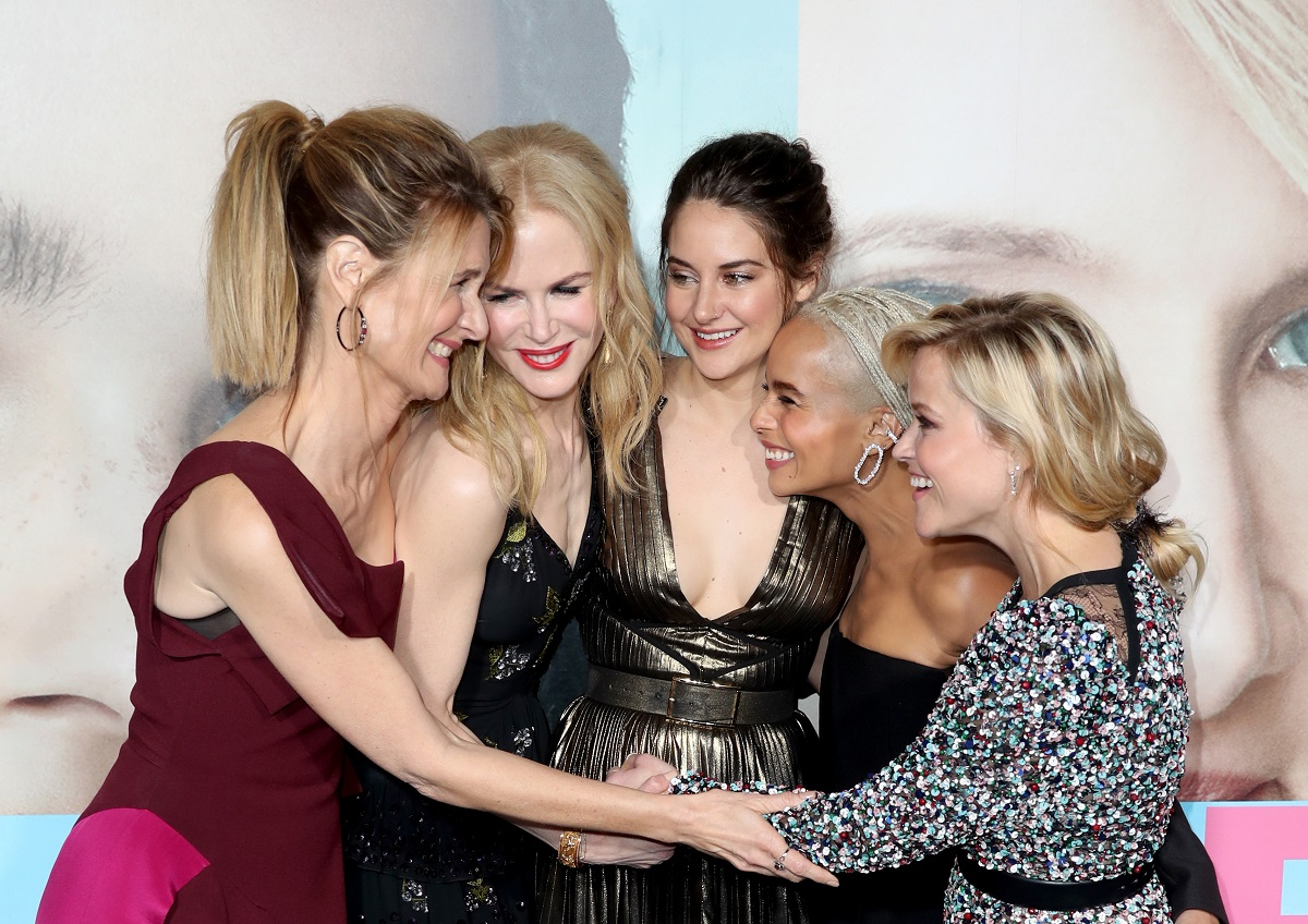 (L-R) Laura Dern, Nicole Kidman, Shailene Woodley, Zoe Kravitz, and Reese Witherspoon attend the premiere of HBO's 'Big Little Lies' on February 7, 2017, in Hollywood, California.