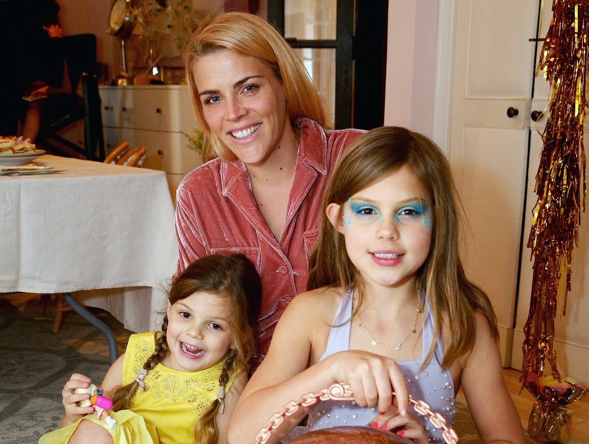 (L-R) Cricket Pearl Silverstein, Busy Philipps, and Birdie Leigh Silverstein attend L.O.L. Surprise! NYE Party Hosted by Busy Phillips & Sara Foster with daughters on December 14, 2017, in Los Angeles, California.