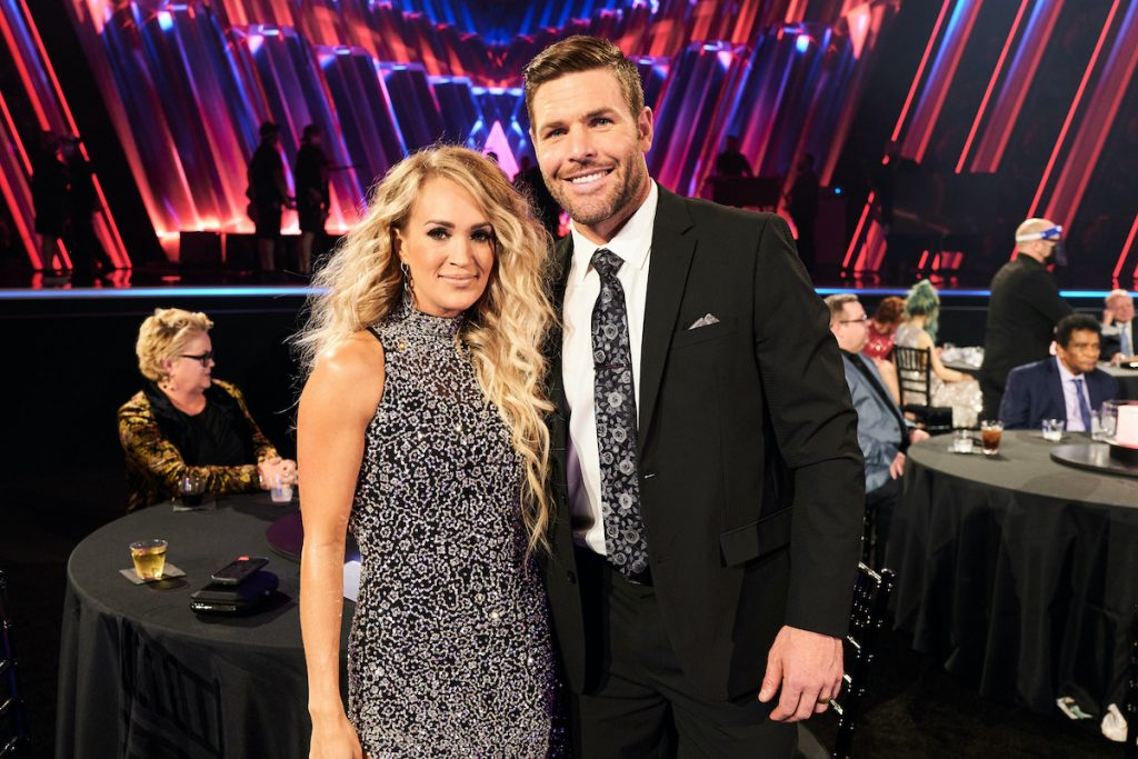Carrie Underwood and Mike Fisher at the CMA Awards in November 2020