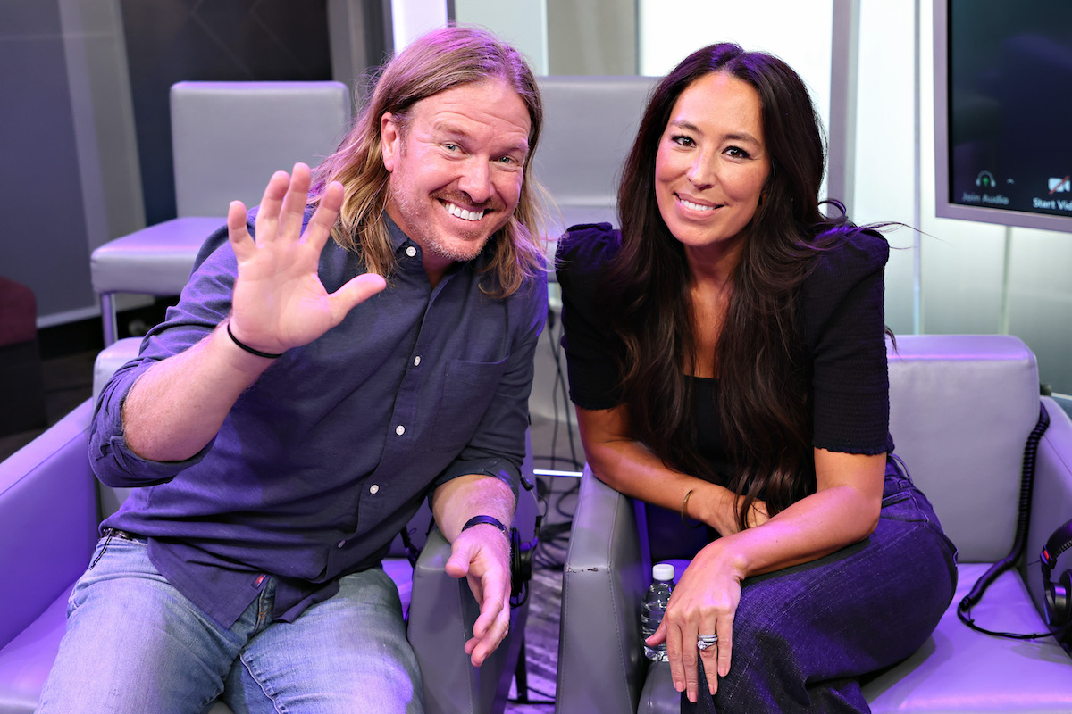 Chip waving and Joanna Gaines smiling at the SiriusXM Studios