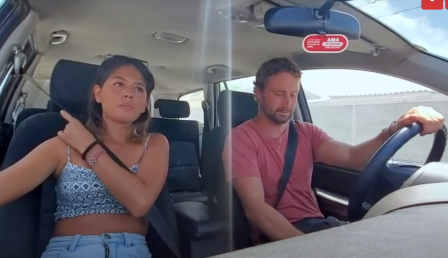 90 Day Fiancé couple Corey and Evelin in a car, with Corey Rathgeber at the wheel