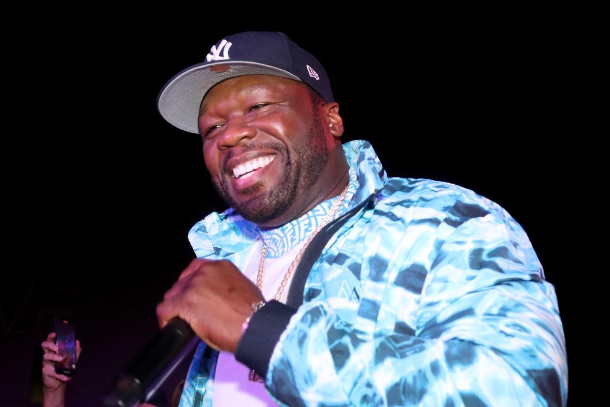 Curtis '50 Cent' Jackson performs during the Celia Cruz x Skott Marsi NFT Launch at ITG Miami on June 3, 2021