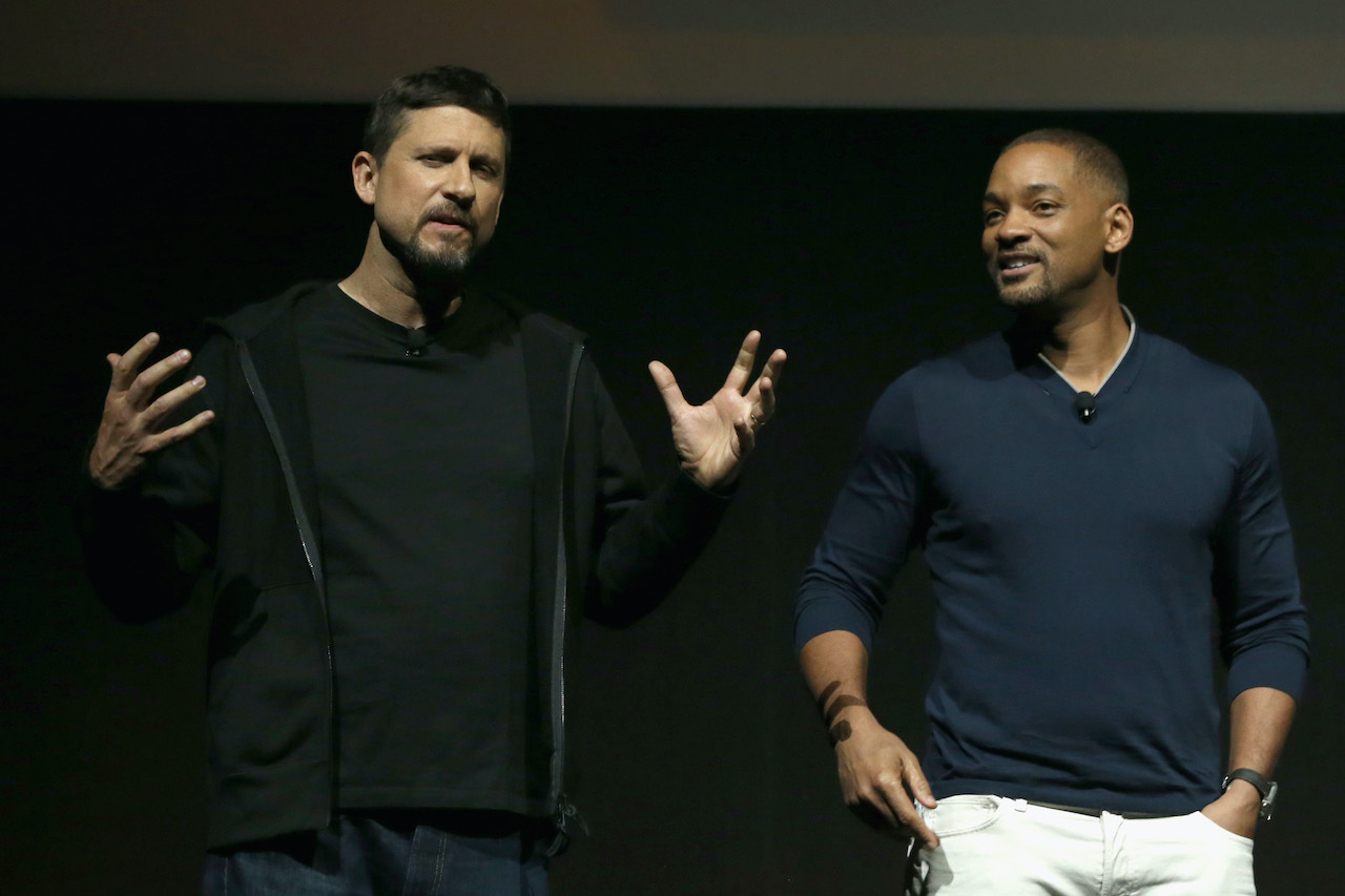 David Ayer on stage at CinemaCon 2016 with Will Smith to promote 'Suicide Squad'