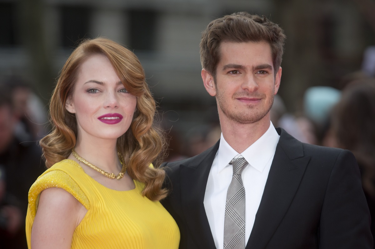 Emma Stone and Andrew Garfield attend the World Premiere of 'The Amazing Spider-Man 2' on April 10, 2014, in London, England.