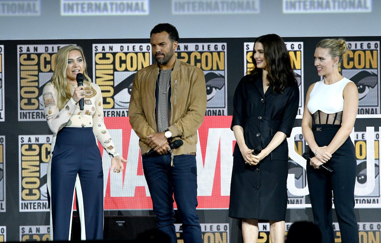 Florence Pugh, O. T. Fagbenle, Rachel Weisz and Scarlett Johansson speak at the Marvel Studios Panel during 2019 Comic-Con International