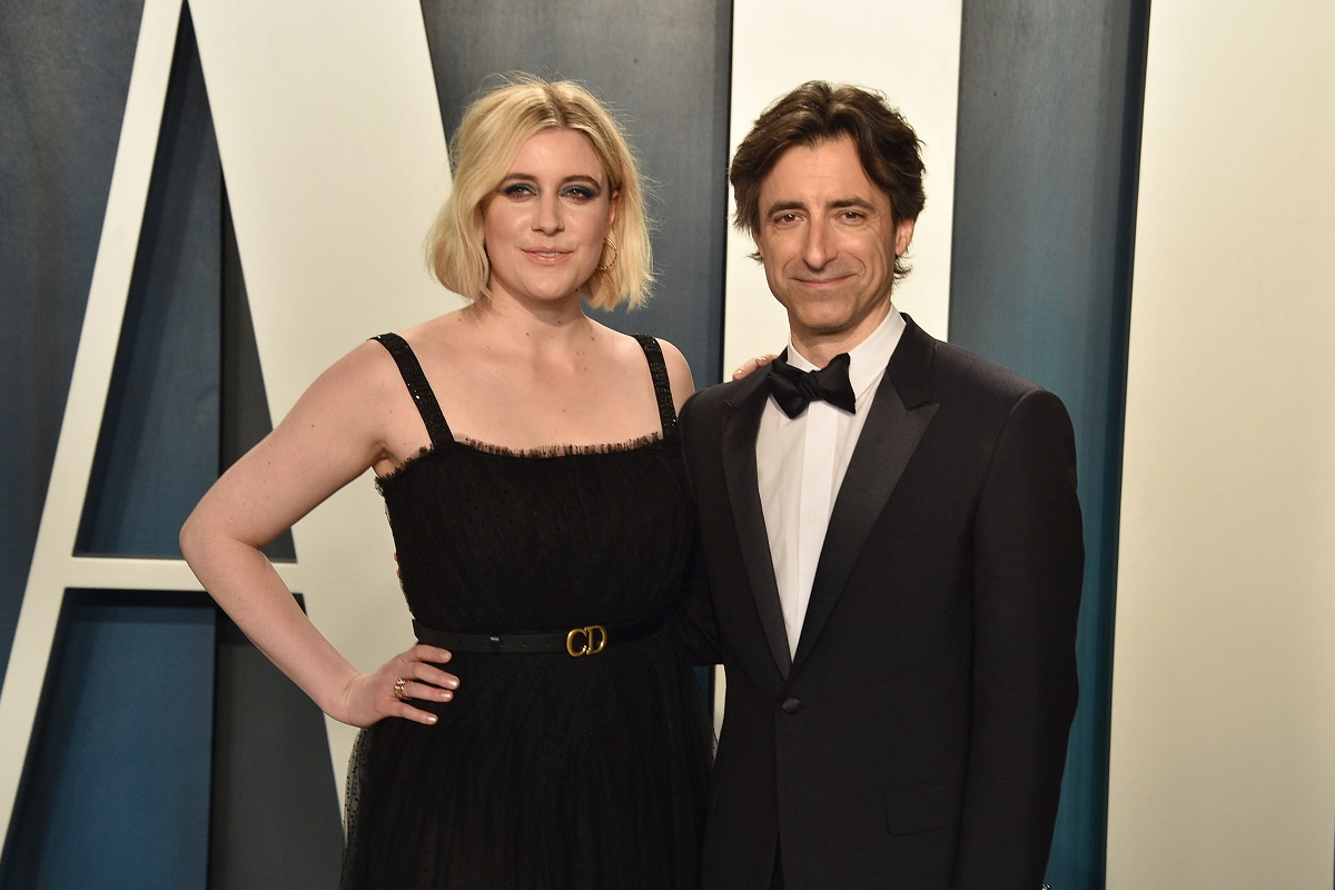 Greta Gerwig (L) and Noah Baumbach attend the 2020 Vanity Fair Oscar Party on February 9, 2020, in Beverly Hills, California.