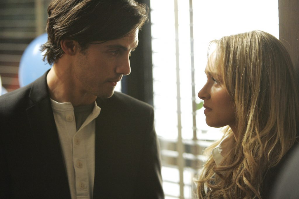 Milo Ventimiglia as Peter Petrelli and Hayden Panetiere as Claire Bennet