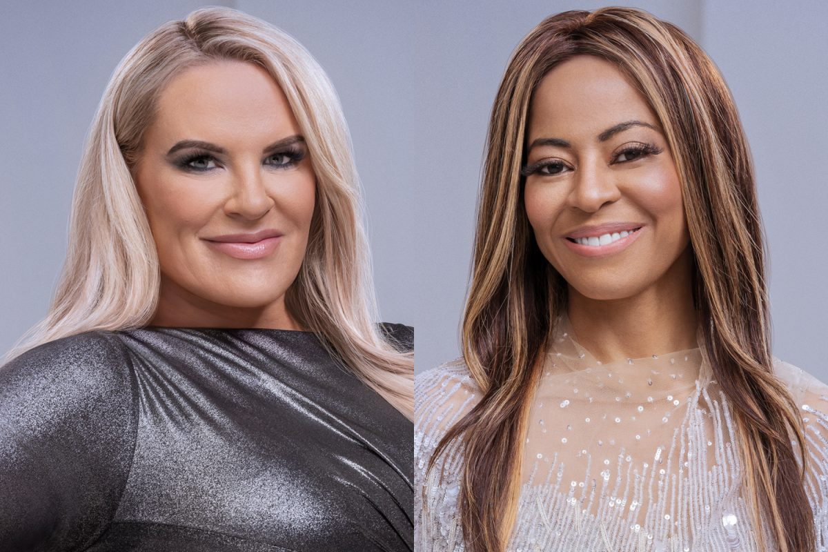 Heather Gay and Mary Cosby smiling in their 'RHOSLC' Season 1 official portraits