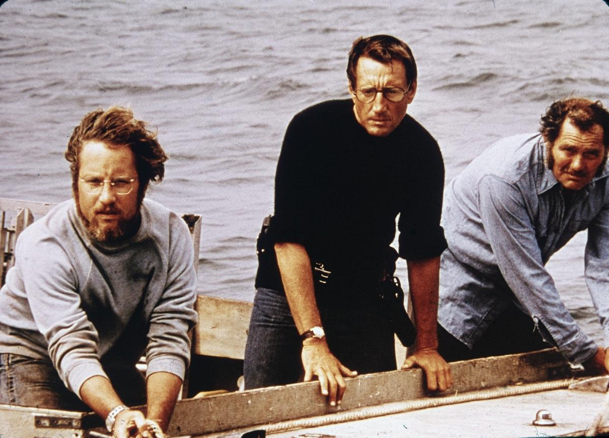 'Jaws' scene with Richard Dreyfuss, Roy Scheider, and Robert Shaw