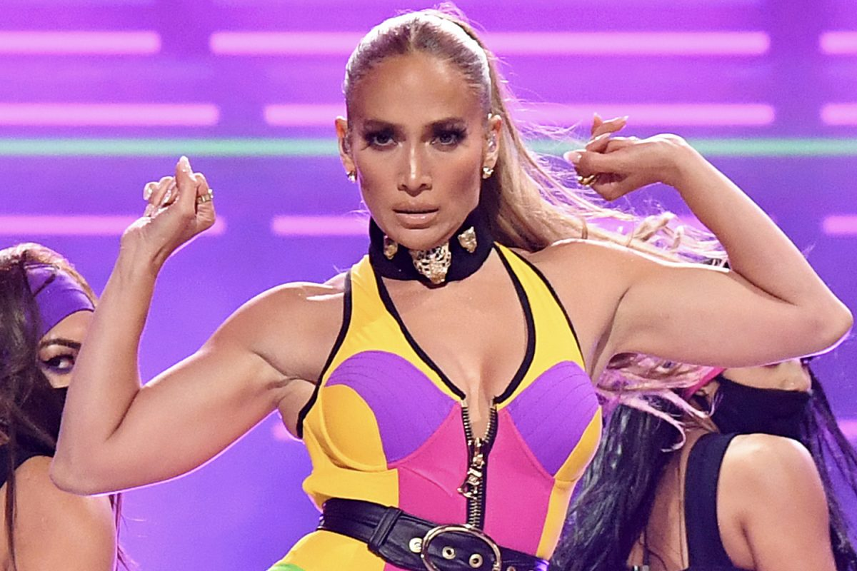 Jennifer Lopez dancing during a performance for Global Citizen VAX LIVE