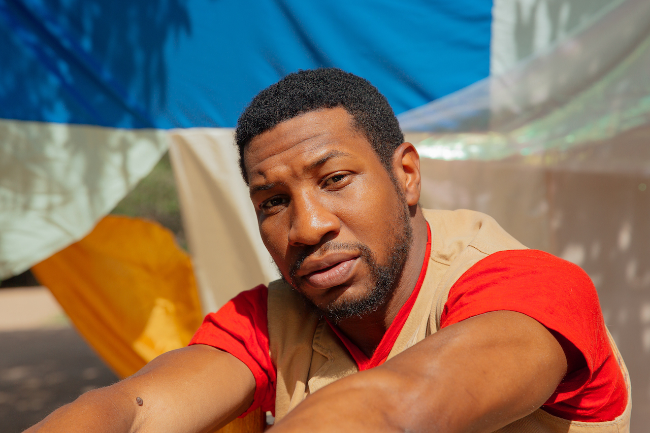 Jonathan Majors poses for a portrait at his home in Santa Fe, New Mexico