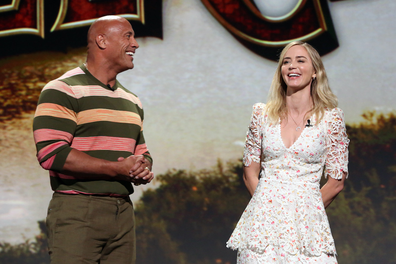 (L-R) Dwayne Johnson and Emily Blunt of 'Jungle Cruise' at Disney's D23 EXPO 2019