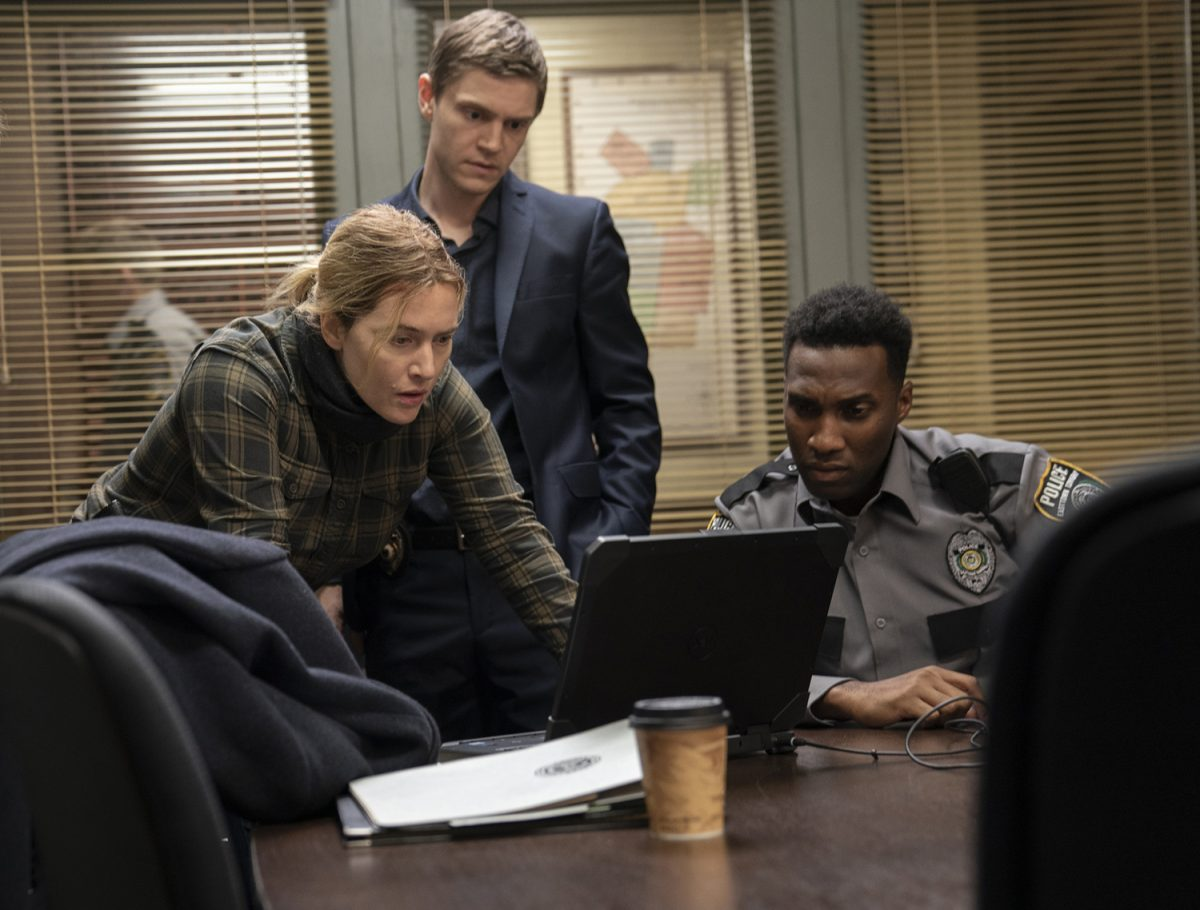 Kate Winslet, Evan Peters, and Justin Hurtt-Dunkley in 'Mare of Easttown'