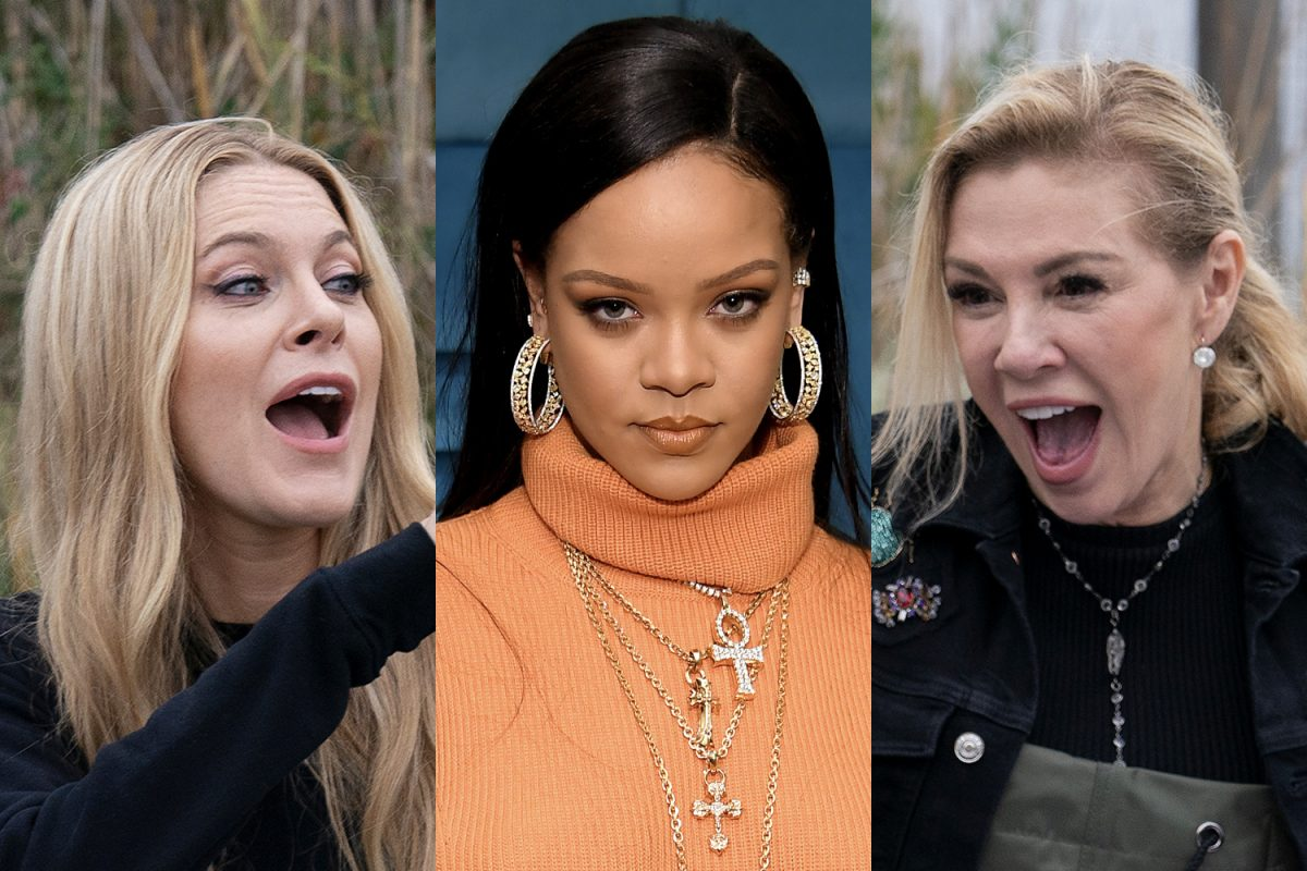 Leah McSweeney yelling, Rihanna looking serious, and Ramona Singer excited with open mouth