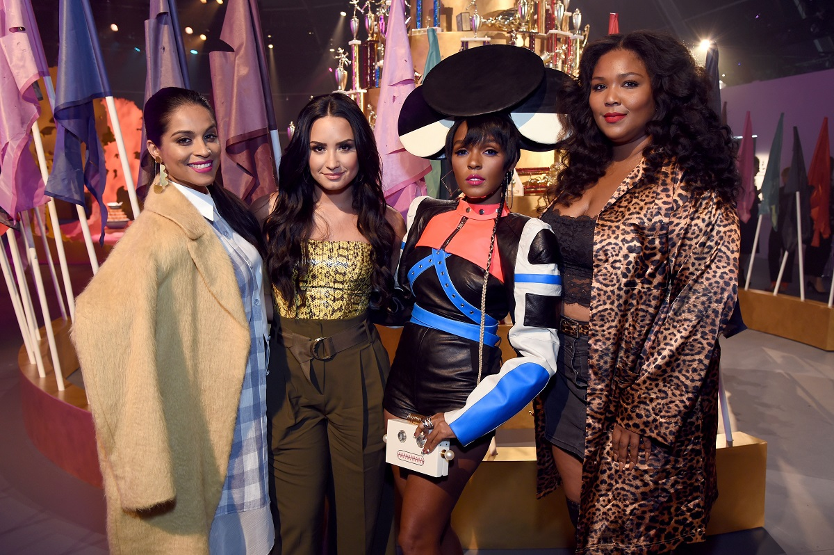 (L-R) Lilly Singh, Demi Lovato, Janelle Monae, and Lizzo attend Refinery29 29Rooms Los Angeles: Turn It Into Art Opening Night Party on December 6, 2017, in Los Angeles, California.