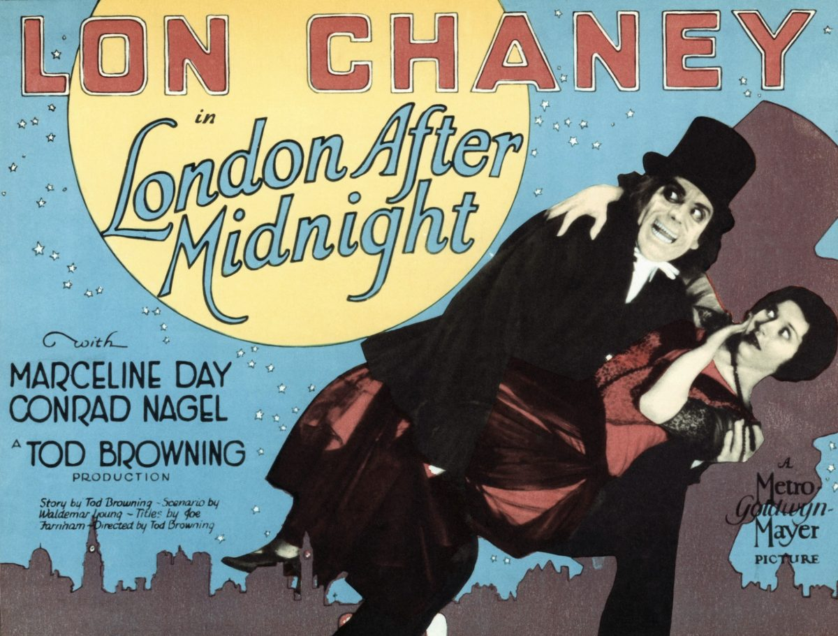 The Man With the Beaver Hat holding a woman on a lobby card for 'London After Midnight'