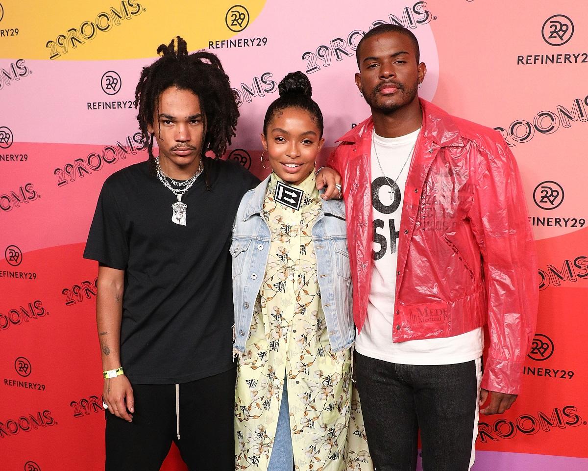 (L-R): Luka Sabbat, Yara Shahidi, and Trevor Jackson on September 5, 2018, in Brooklyn, New York.