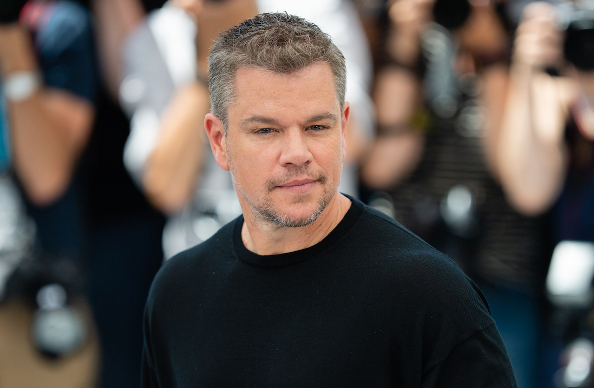 Matt Damon in a black shirt at the 2021 Cannes Film Festival