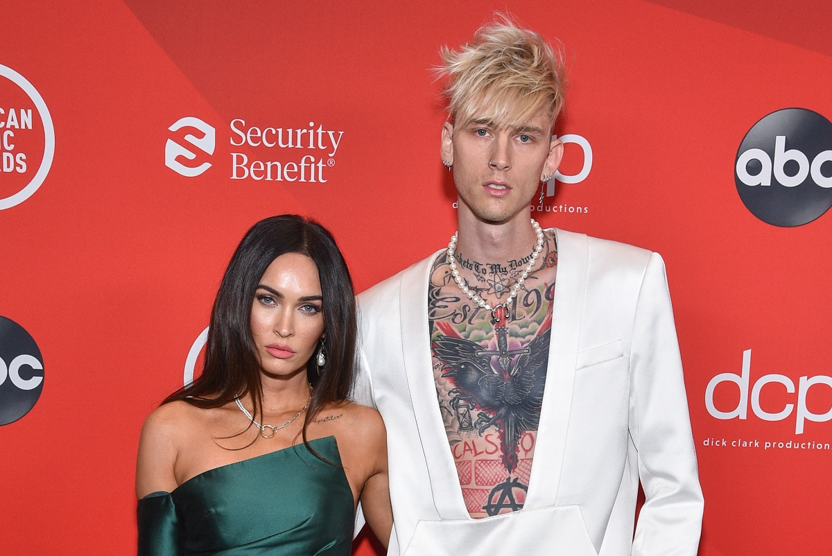 Megan Fox and Machine Gun Kelly (R) at the 2020 American Music Awards in Los Angeles, on November 22, 2020.