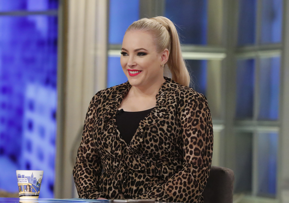 Meghan McCain smiling on the set of 'The View' in 2019