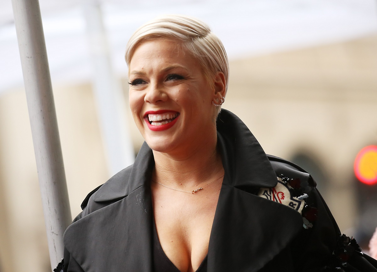 Alecia Beth Moore aka Pink attends the ceremony honoring her with a Star on The Hollywood Walk of Fame held on February 05, 2019, in Hollywood, California.