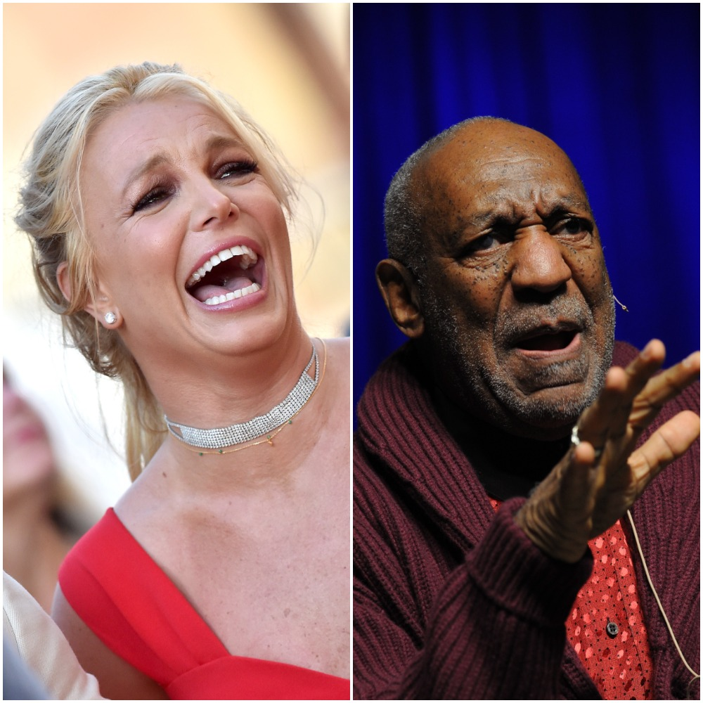 Britney Spears laughing in 2019 and Bill Cosby performing stand up comedy in 2013