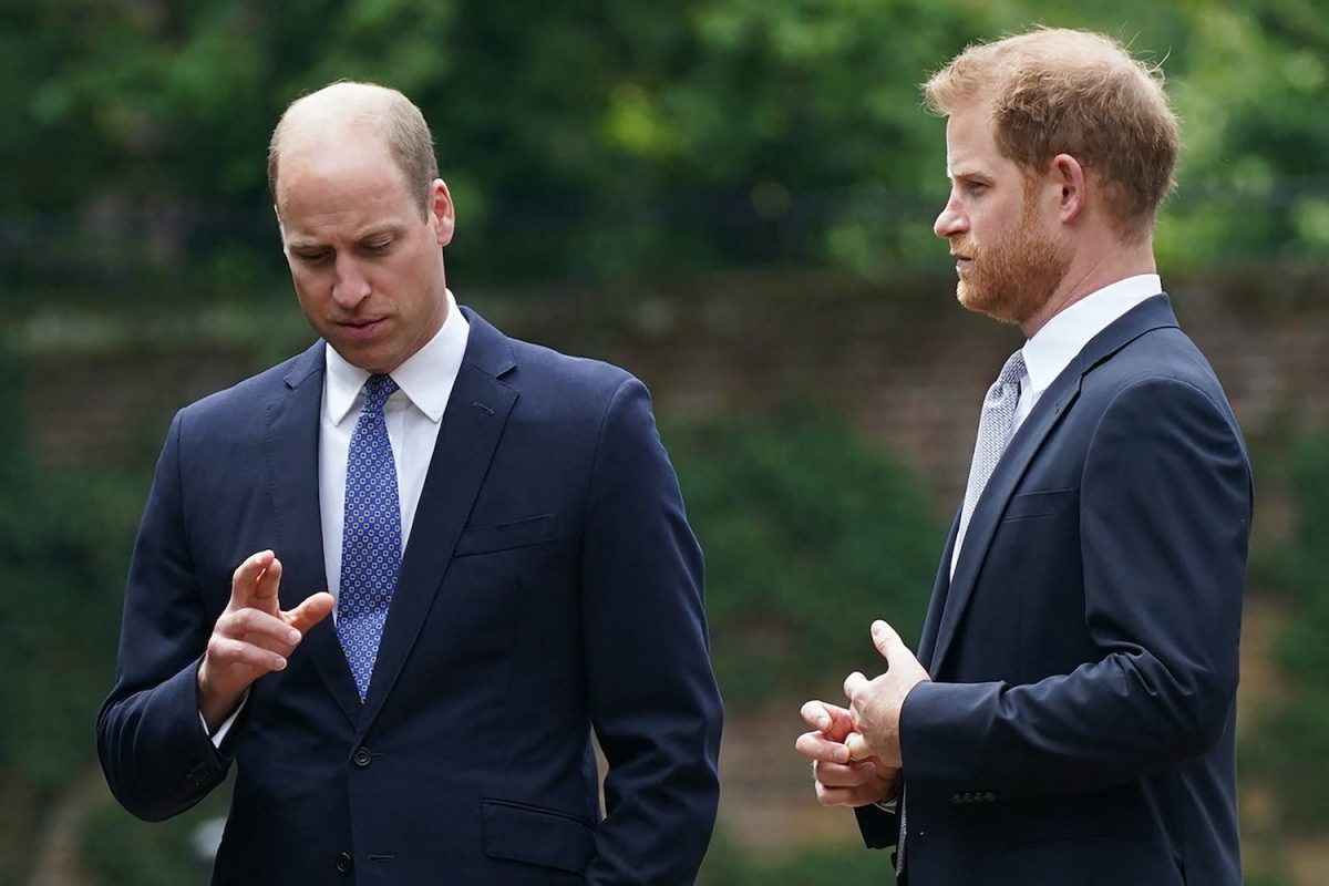 Prince William and Prince Harry at the unveiling of a statue of their mother, Princess Diana at The Sunken Garden in Kensington Palace