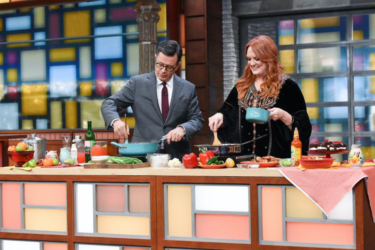Ree Drummond cooks with Stephen Colbert during a 2019 appearance on The Late Show with Stephen Colbert