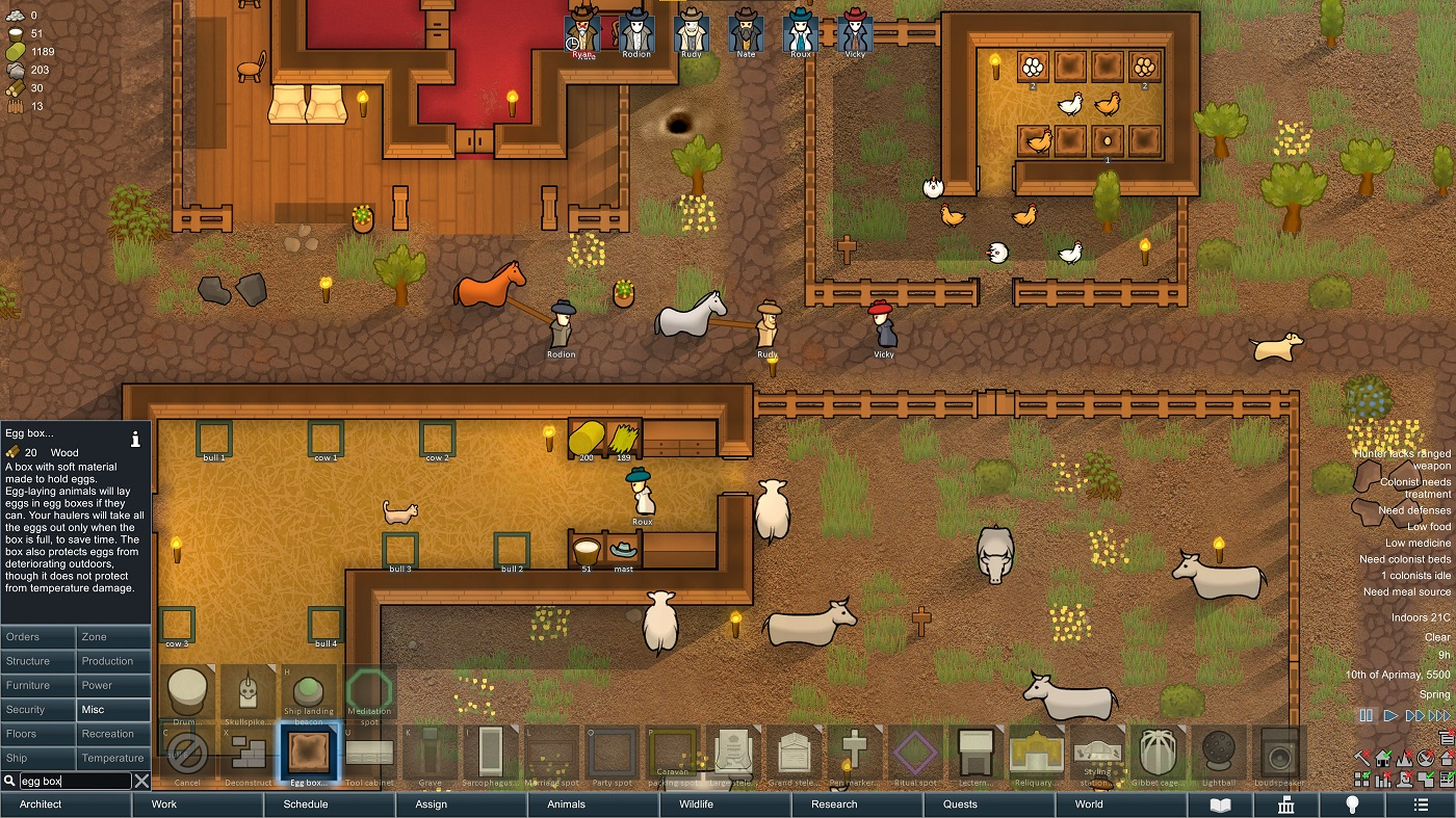 A screenshot of the Rimworld 1.3 update, which includes new ways of managing animals.