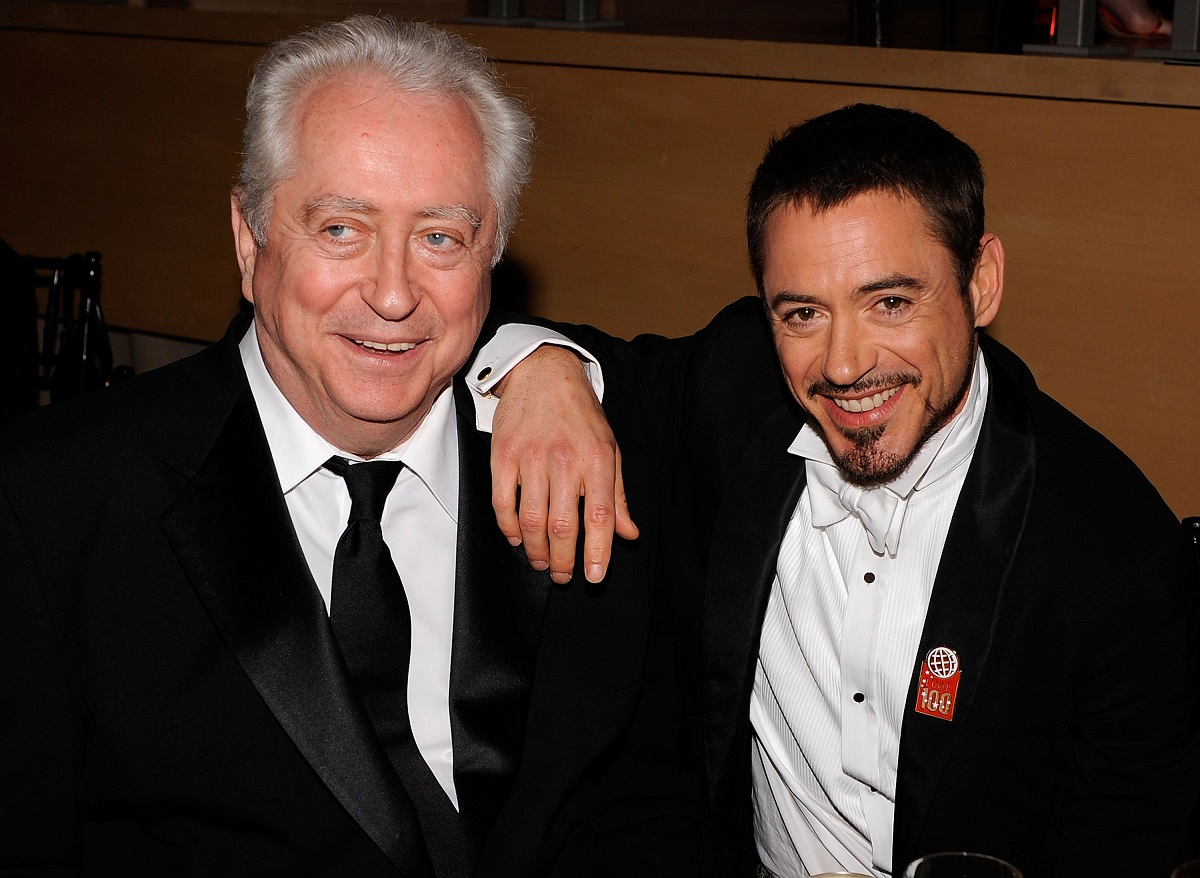 Robert Downey Sr. (L) and Robert Downey Jr. attend Time's 100 Most Influential People in the World gala on May 8, 2008, in New York City.