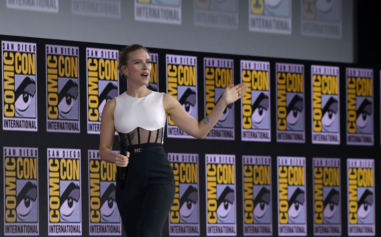 """Scarlett Johansson presents the movie """"Black Widow"""" on stage during the Marvel panel in at Comic Con"""