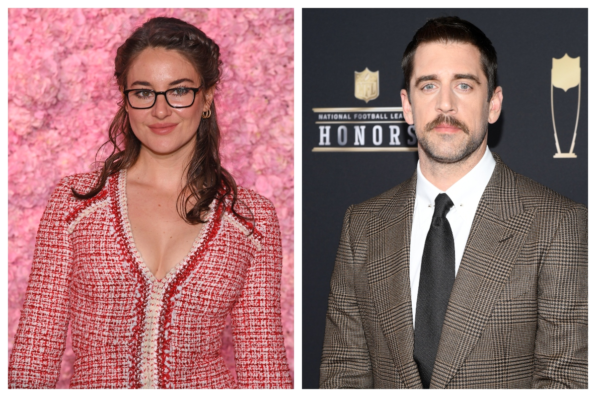 composite image of Shailene Woodley (L) and Aaron Rodgers (R)