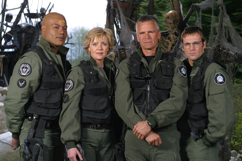 Christopher Judge as Teal'c, Amanda Tapping as Maj. Samantha Carter, Richard Dean Anderson as Colonel Jack O'Neill, Michael Shanks as Dr. Daniel Jackson on Stargate SG-1