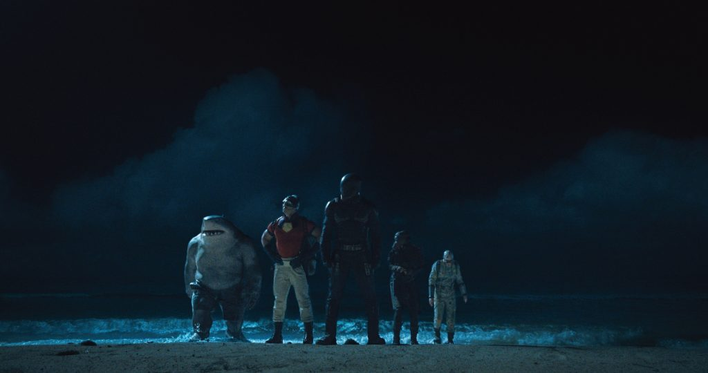 The Suicide Squad: King Shark, John Cena as Peacemaker, Idris Elba as Bloodsport, Daniela Melchior as Ratcatcher 2 and DAVID Dastmalchian as Polka-Dot Man in 'The Suicide Squad'