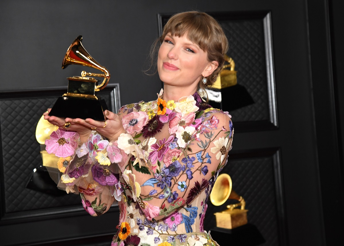 Taylor Swift, winner of Album of the Year for 'Folklore', poses in the media room during the 63rd Annual GRAMMY Awards on March 14, 2021, in Los Angeles, California.